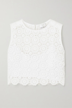 Miguelina Ruby Cropped Crocheted Cotton Top - White