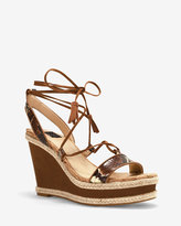 White House Black Market Exotic-Print Lace-Up Wedge Sandals