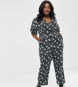Yumi Plus floral wrap jumpsuit