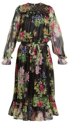 Dodo Bar Or Vitti Floral-print Embellished Dress - Womens - Black Multi