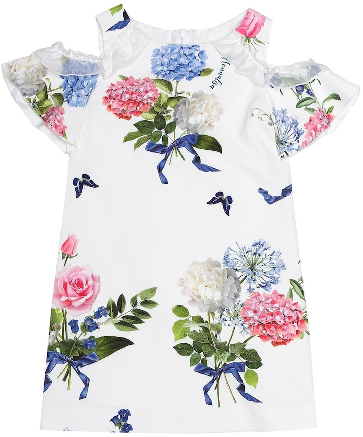 MonnaLisa Cold-shoulder floral dress