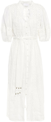 Zimmermann Castile Flower Crochet-trimmed Embroidered Voile Midi Dress