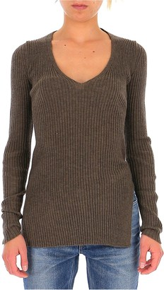 UMA WANG V-Neck Ribbed Sweater