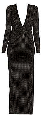 Versace Women's Studded Jersey Plunging V-neck Gown
