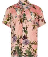 River Island Boys pink hawaiian print short sleeve shirt