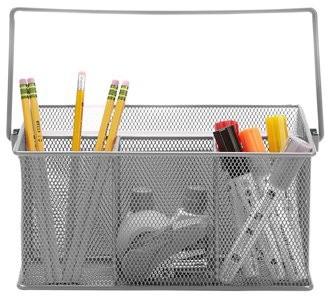 Mind Reader Metal Mesh Basket with Handle, Storage Basket Organizer, Utensil Holder, Forks, Spoons, Knives, Napkins, Perfect for Desk Supplies, Pencils, Pens, Staples, Gray