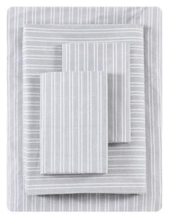 ED Ellen Degeneres Linen Texture Stripe Percale Full Sheet Set Bedding