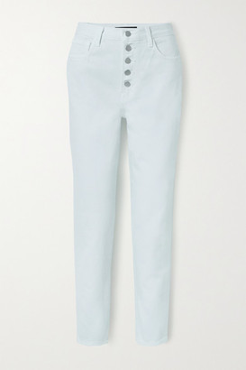 J Brand Heather Cropped High-rise Straight-leg Jeans - Mint
