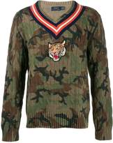 Polo Ralph Lauren Tiger patch camouflage print sweater