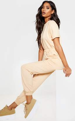 PrettyLittleThing Fawn Short Sleeve Sweat Jumpsuit