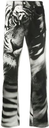 Roberto Cavalli Tiger-Print Straight Jeans