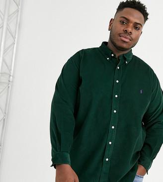 Polo Ralph Lauren Ralph Lauren Big & Tall player logo buttondown classic fit corduroy shirt in college green
