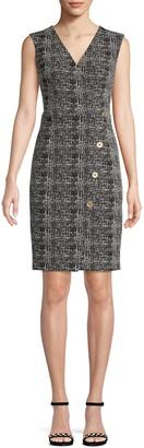 Donna Karan Textured V-Neck Mini Dress