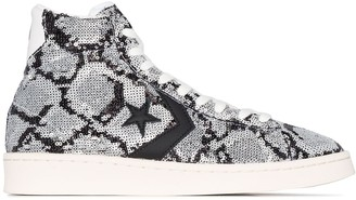 Converse sequinned snake-effect high-top sneakers