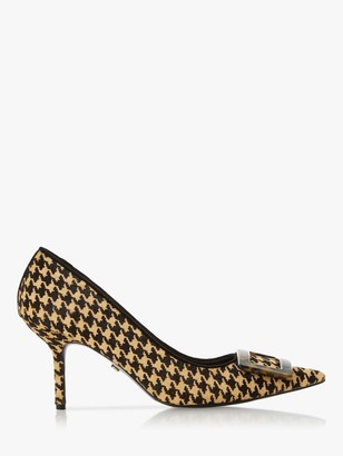 Dune Brinda Leather Buckle Pointed Toe Court Shoes, Dogtooth Print
