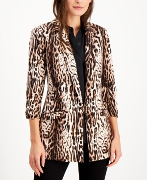 INC International Concepts Inc Animal-Print Jacket, Created for Macy's