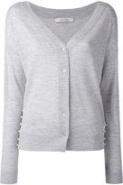 Dorothee Schumacher - embellished sides V-neck cardigan - women - Polypropylene/Virgin Wool - 1