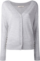 Dorothee Schumacher - embellished sides V-neck cardigan - women - Polypropylene/Virgin Wool - 4
