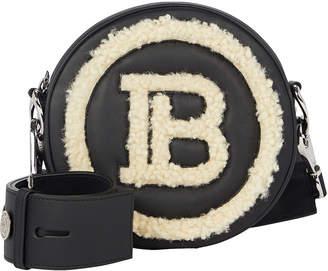 Balmain Shearling-Trimmed Disco Mini Logo Bag