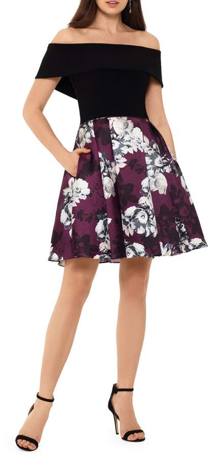 Betsy & Adam Off-The-Shoulder Fit--Flare Dress