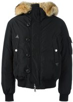 DSQUARED2 padded fur trim bomber jacket - men - Polyamide/Polyester/Coyote Fur/Duck Feathers - 52