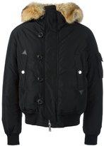 DSQUARED2 padded fur trim bomber jacket