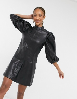 Topshop IDOL faux leather extreme sleeve mini dress in black
