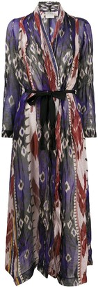 Forte Forte Abstract Print Belted Coat