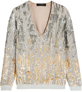 Jenny Packham Embellished Silk And Jersey Top