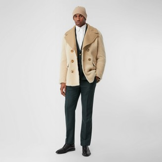 Burberry Contrast Wool Collar Shearling Pea Coat