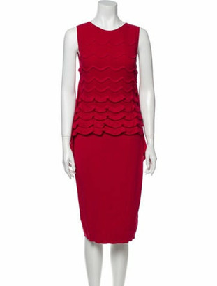 Valentino Crew Neck Midi Length Dress w/ Tags Red