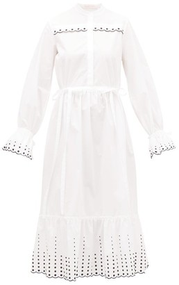 See by Chloe Collarless Scalloped Cotton-poplin Dress - Womens - White