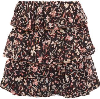 IRO Tiered Printed Chiffon Mini Skirt