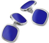 Forzieri Blue Square Sterling Silver Double Sided Cufflinks