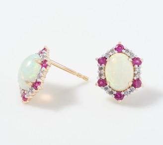 Opal, Precious Gemstone & Diamond Stud Earrings, 0.20 cttw, 14K Gold