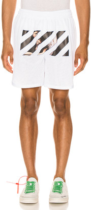 Off-White Caravaggio Angel Mesh Shorts in White & Black | FWRD