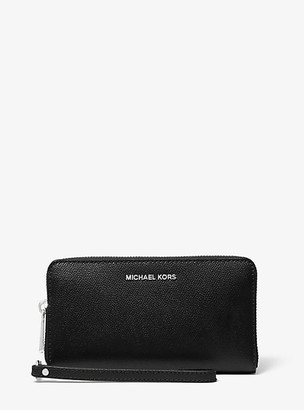 MICHAEL Michael Kors MK Large Crossgrain Leather Smartphone Wristlet - Black - Michael Kors