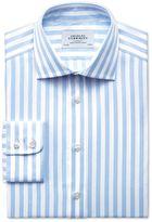 Charles Tyrwhitt Slim Fit Semi-Spread Collar Egyptian Cotton Stripe Sky Blue Dress Casual Shirt Single Cuff Size 16.5/33