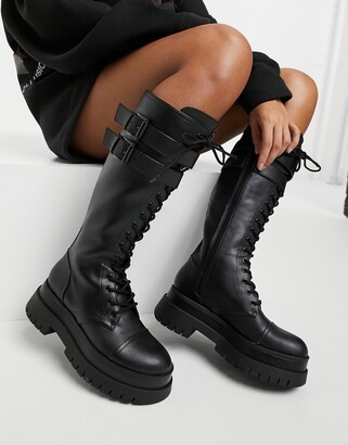 Bershka high-leg lace-up boot with cleated sole in black