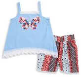 Flapdoodles Girls Butterfly Tank and Floral Shorts Set