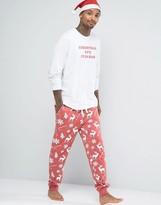 Asos Loungewear Christmas Drop Crotch Jogger With Reindeer Print