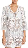 J Valdi Embroidered Floral Tunic Swim Cover-Up