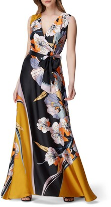 Tahari Retro Floral Maxi Dress