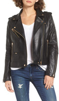 BLANKNYC Denim Leather Moto Jacket