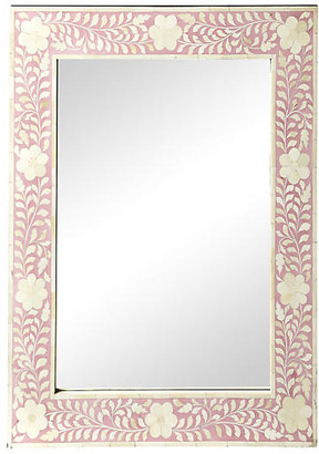One Kings Lane Flower Wall Mirror - Pink/Ivory