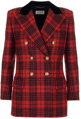 Saint Laurent Double-Breasted Checked Blazer