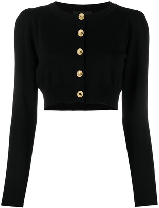 Boutique Moschino Cropped Cotton-Knit Cardigan