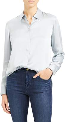 Theory Silk Button-Up Shirt
