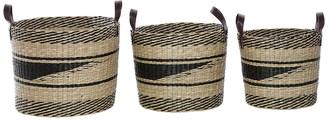 Venus Williams Round Brown Seagrass Storage Baskets with Handles - Set of 3