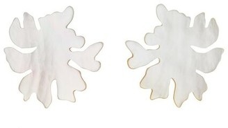 Natori Mother Of Pearl Coral Clip Earrings